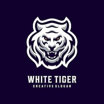 Impressionante modelo de logotipo de cabeça de tigre branco