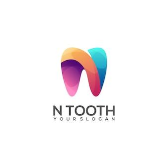 Impressionante n letras e logotipo de dente colorido