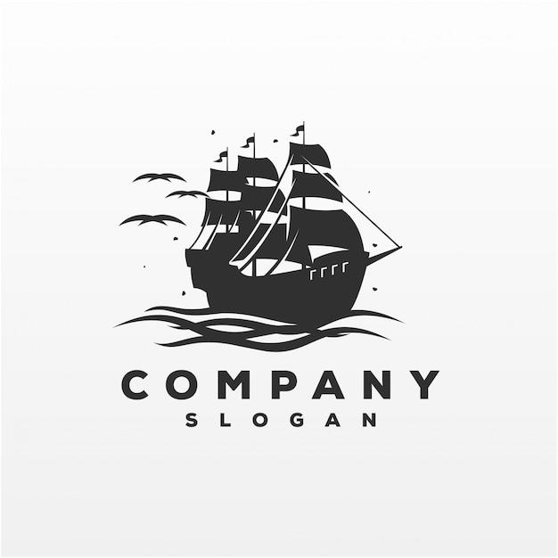 Impressionante navio logo design vector ilustração