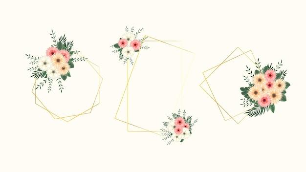 Impressionante rótulo vintage com molduras de flores coloridas em estilo detalhado para cartões de convites de casamento