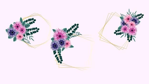 Impressionante rótulo vintage de quadros de flores coloridas em estilo detalhado para cartões de casamento