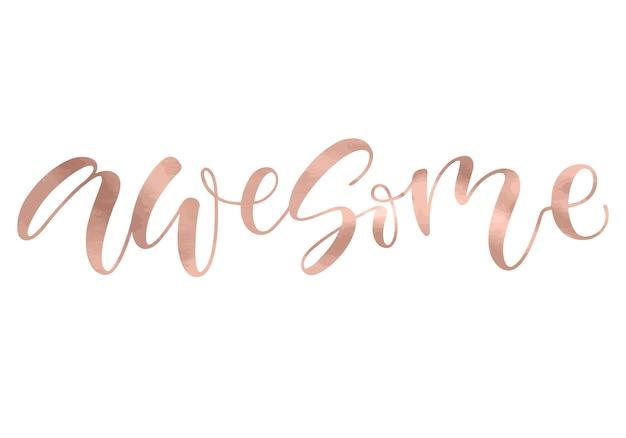 Impressionante. texto cor-de-rosa metálico do ouro da caligrafia bonita do cartão da forma.