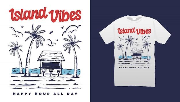 Impressões da ilha camisetas