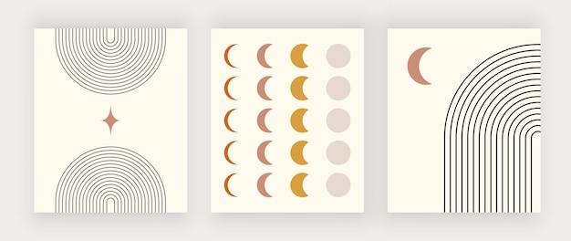 Impressões de arte de parede boho moderna com estrela e lua de arco-íris