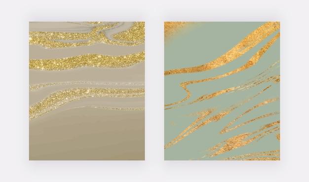 Impressões de arte de parede de mármore líquido com glitter dourado Vetor Premium