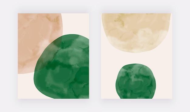 Impressões de arte em parede com formas bege e verdes em aquarela