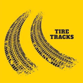 Impressões de faixa de pneu de estrada em fundo amarelo