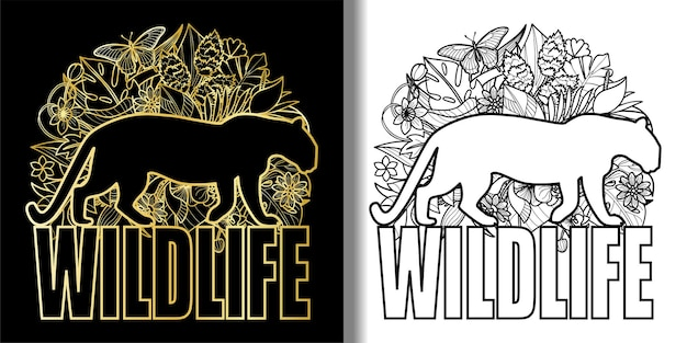 Impressões de vida selvagem com leopardo e plantas tropicais