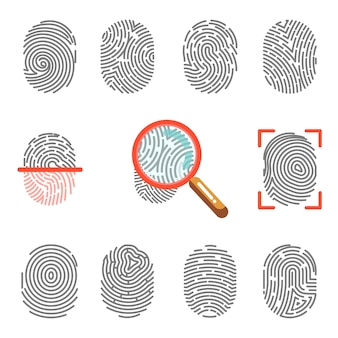 Impressões digitais ou identificação de impressão na ponta do dedo