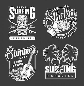 Impressões monocromáticas de surf de verão vintage