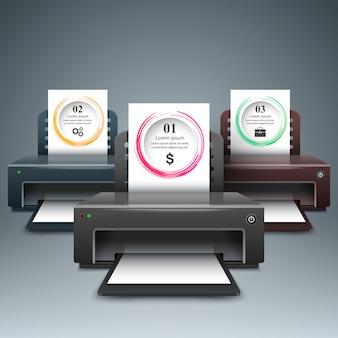 Impressora 3d realista. infográfico de negócios.