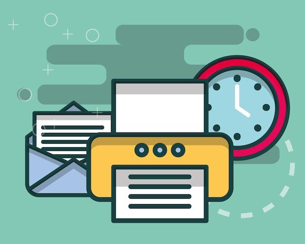 Impressora de carta de e-mail e horário do relógio