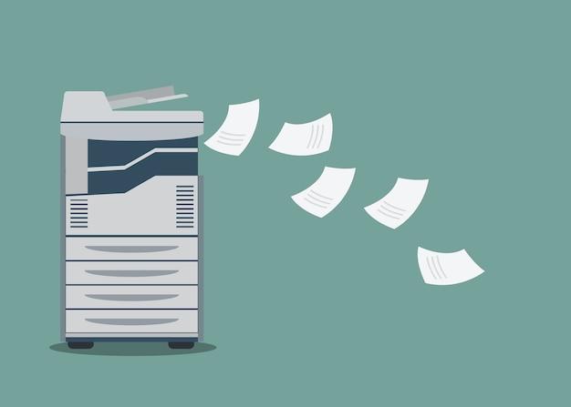 Impressora de trabalho copiadora com documento em papel.