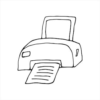 Impressora desenhada de mão única. ilustração em vetor doodle. escritório em casa. elemento bonito para cartões, cartazes, adesivos e design sazonal. isolado em fundo branco