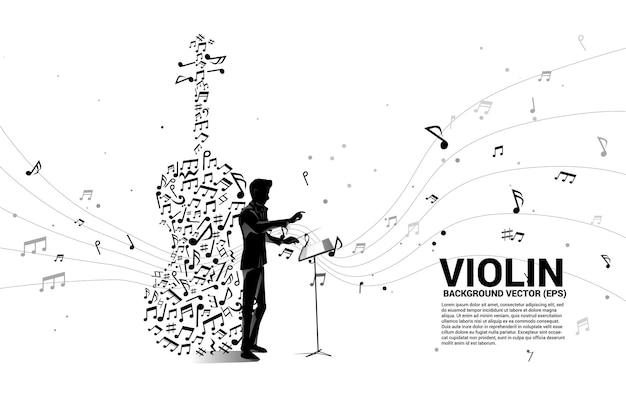 Imprima a silhueta da mão do maestro com o ícone do violino da forma do fluxo da nota da melodia da música