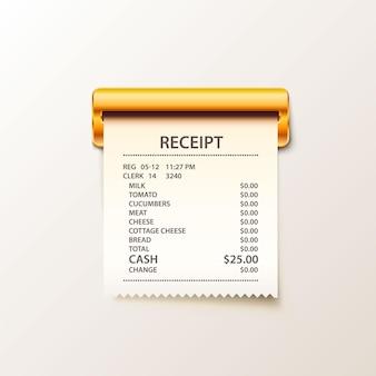 Imprima o dinheiro do recibo no fundo branco. ilustração vetorial