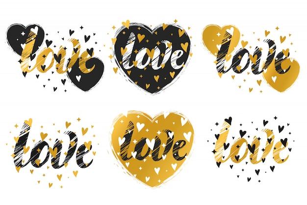 Imprime com um coração. um conjunto de impressões. ilustração para o dia dos namorados.
