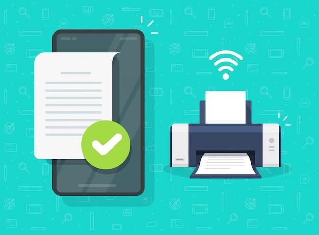 Imprimir documento na impressora sem fio via telefone celular ou smartphone, conexão wifi com impressão de arquivo fax ou jato de tinta ilustração plana dos desenhos animados