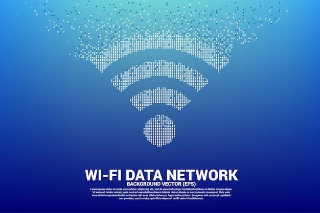 Imprimir ícone de rede de dados móveis de polígono wi-fi de pixel.