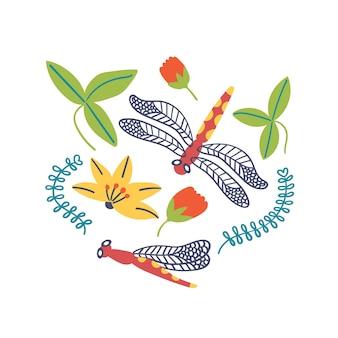 Imprimir libélula lírios flores folhas