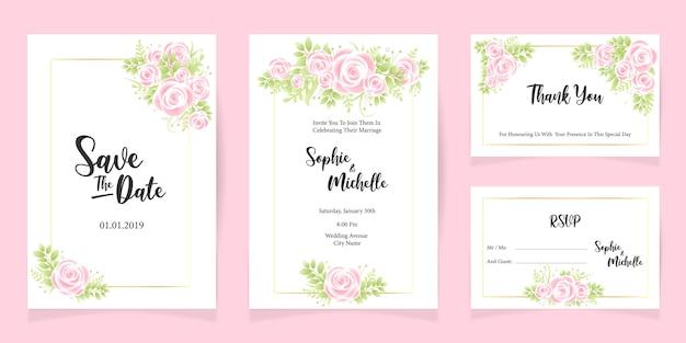 Imprimir modelo de cartão de convite de casamento salvar o conjunto de cartão de data