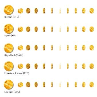 Imprimir moedas de ouro em desenho plano com conjunto de símbolos de moeda criptografada