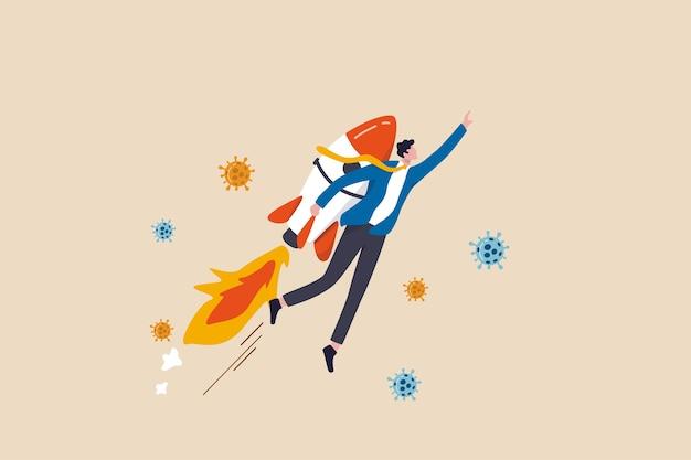 Impulsionador de negócios em surto de crise econômica covid-19, iniciar empresa para ganhar e sobreviver no conceito de recessão, empresário de confiança líder empresário com foguete impulsionador de mosca passar coronavirus.