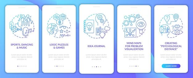 Impulsionando a tela da página do aplicativo para dispositivos móveis, dicas de habilidades para resolver problemas da marinha