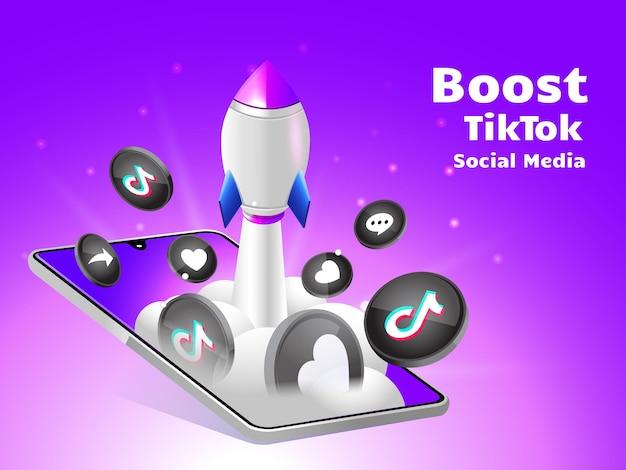 Impulsionando foguetes nas redes sociais tiktok com smartphone