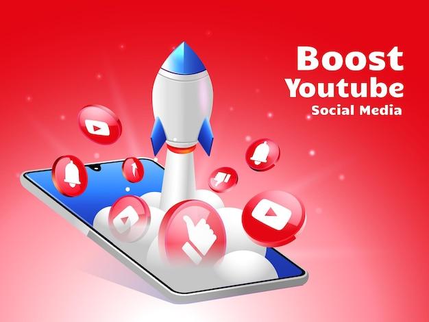 Impulsionando foguetes nas redes sociais youtube com smartphone