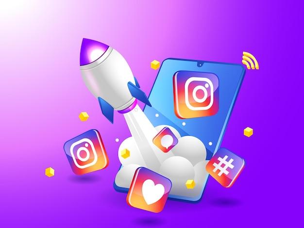 Impulsionando o marketing digital do instagram com um foguete com smartphone