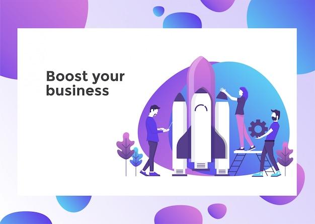 Impulsionar a página de ilustração de negócios