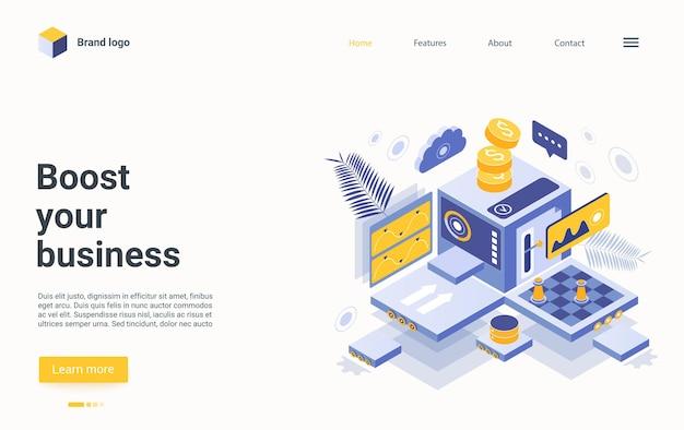 Impulsione seu design de página de destino isométrica de negócios, processo de ganhar dinheiro