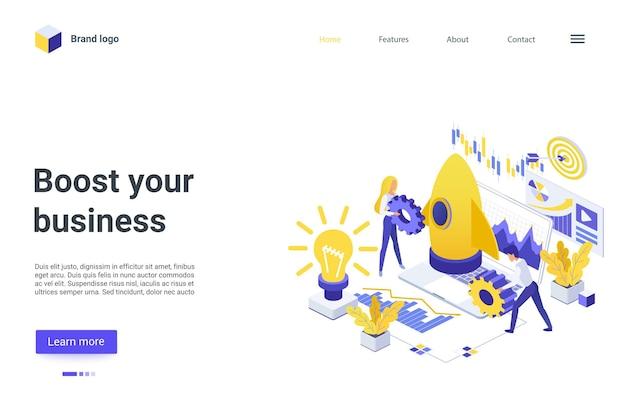 Impulsione sua página de destino isométrica de negócios