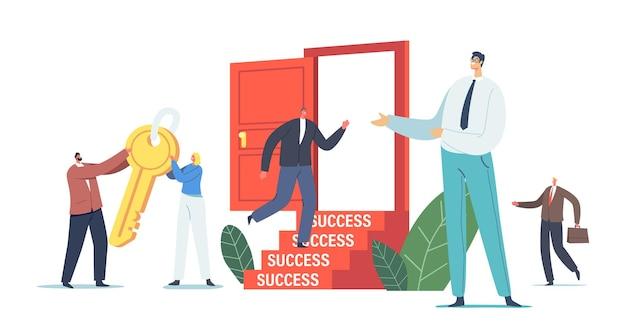 Impulso de carreira, solução de tarefa de negócios, motivação para o conceito de sucesso. personagens de negócios carregam uma enorme chave de ouro para destravar a porta. competição, desafio de liderança. ilustração em vetor desenho animado