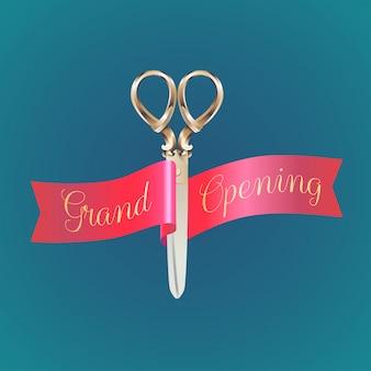 Inauguração, abertura em breve banner, ilustração