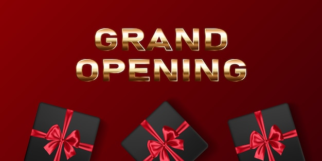Inauguração: banner de vetor. modelo festivo para cerimônia de abertura