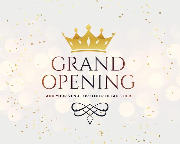 Inauguração branca com coroa de ouro