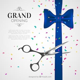 Inauguração com fita, tesoura e confete