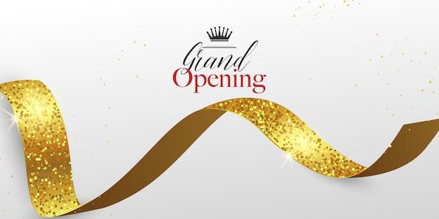 Inauguração com fundo de fita dourada e brilhos
