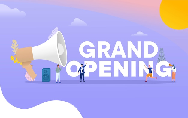 Inauguração: conceito de ilustração, com pessoas gritar com grande megafone, papel de parede