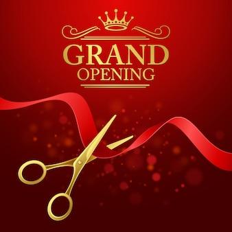 Inauguração: ilustração com fita vermelha e tesoura de ouro