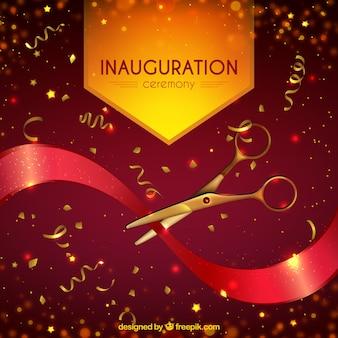 Inauguração realista com confete dourado