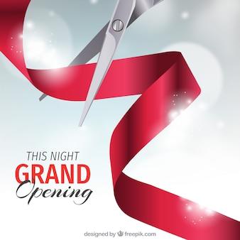 Inauguração realista com tesoura e fita vermelha