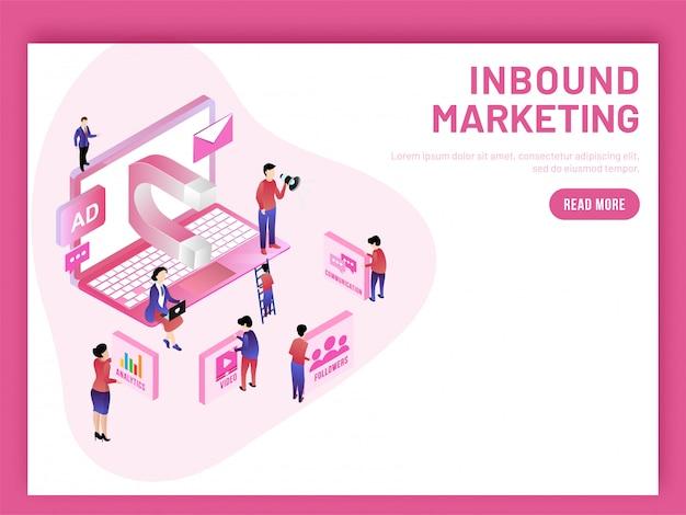 Inbound marketing baseado em design isométrico.
