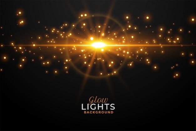 Incandescência de luz dourada brilhante com brilhos de fundo