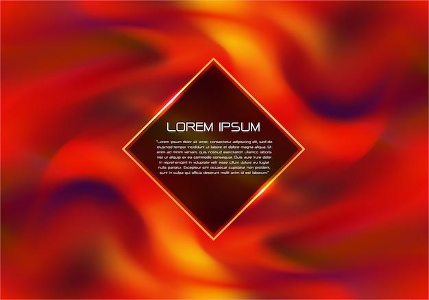 Incêndio vermelho que gira com flama do ouro e fundo do luxo do texto.