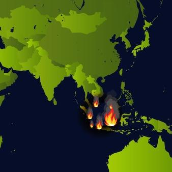 Incêndios florestais sinalizam incêndio em mapa de desastre em jornal da indonésia que queima fumaça e