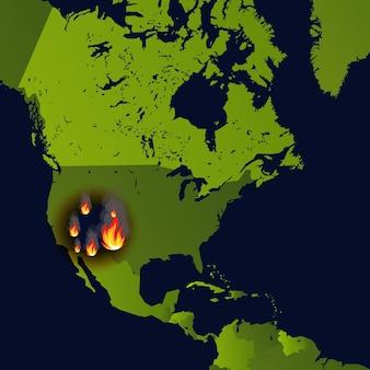 Incêndios florestais sinalizam incêndio em um mapa de desastre em jornal que queima fumaça e arde de
