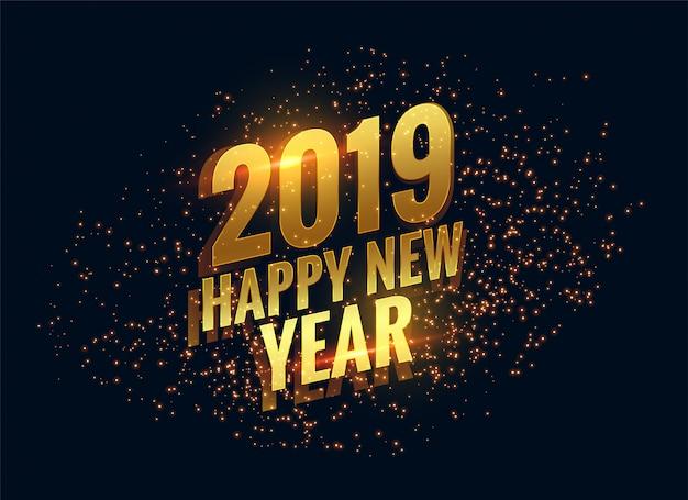 Incrível 2019 feliz ano novo brilha fundo dourado